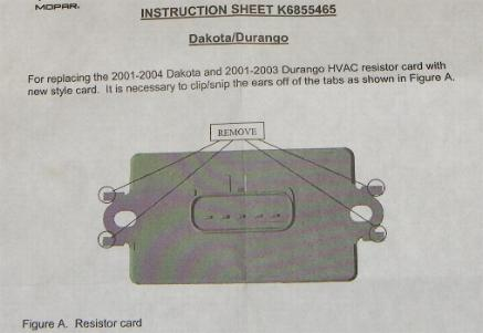 Dodge Dakota Resistor Replacement Heater Control Doesn't Work